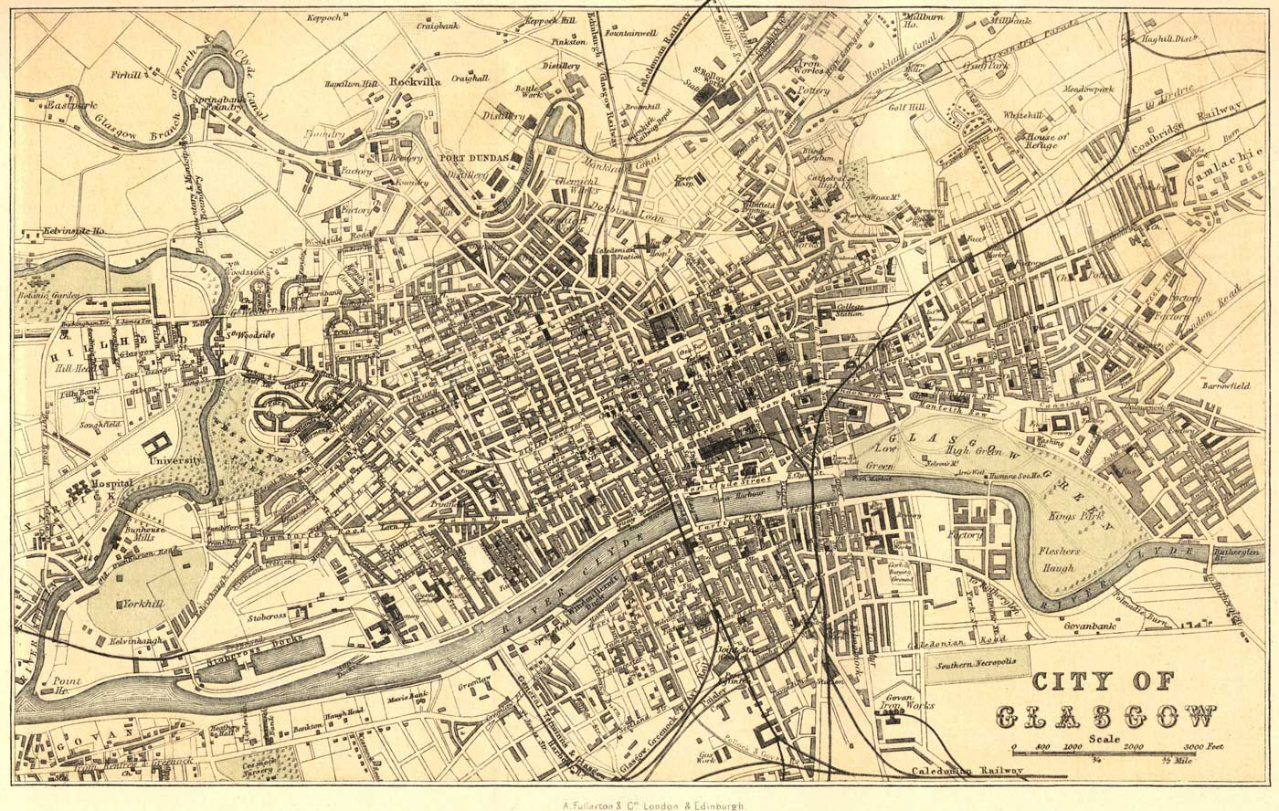 Old Map of Glasgow large map