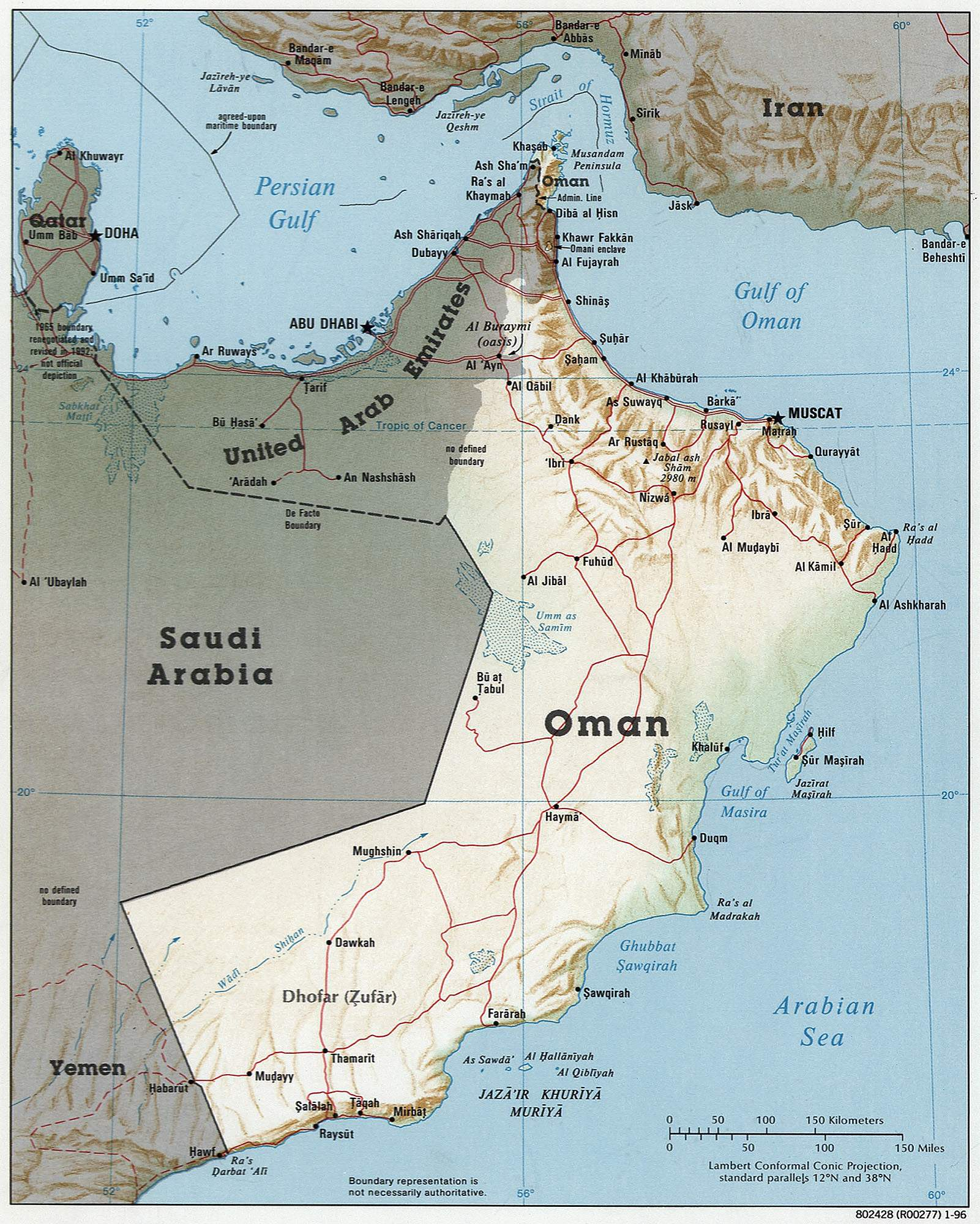 Oman 1996 Cia Map large map