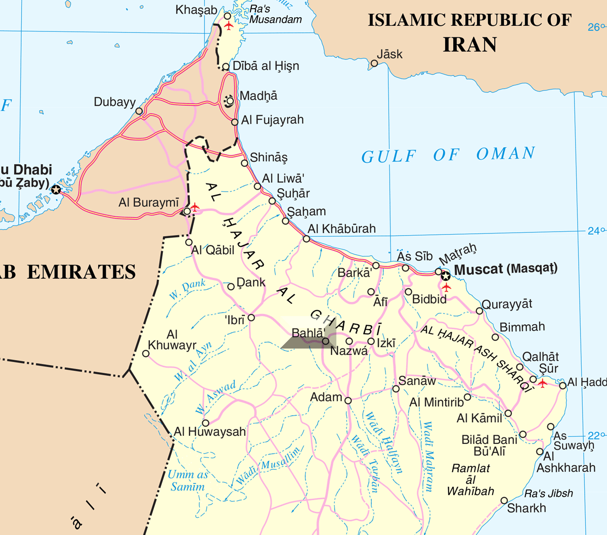 Oman Bahla large map