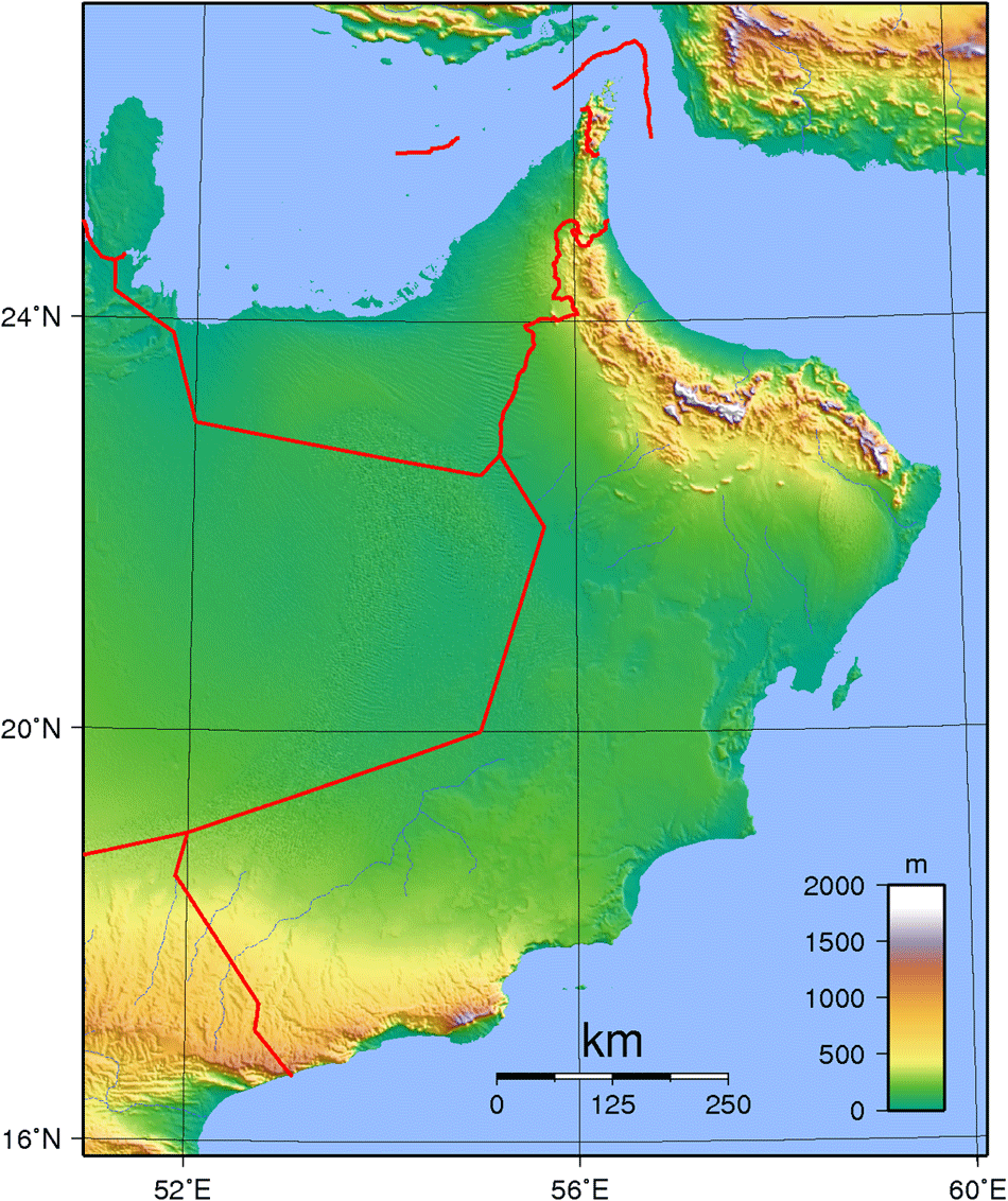 Oman Topography large map