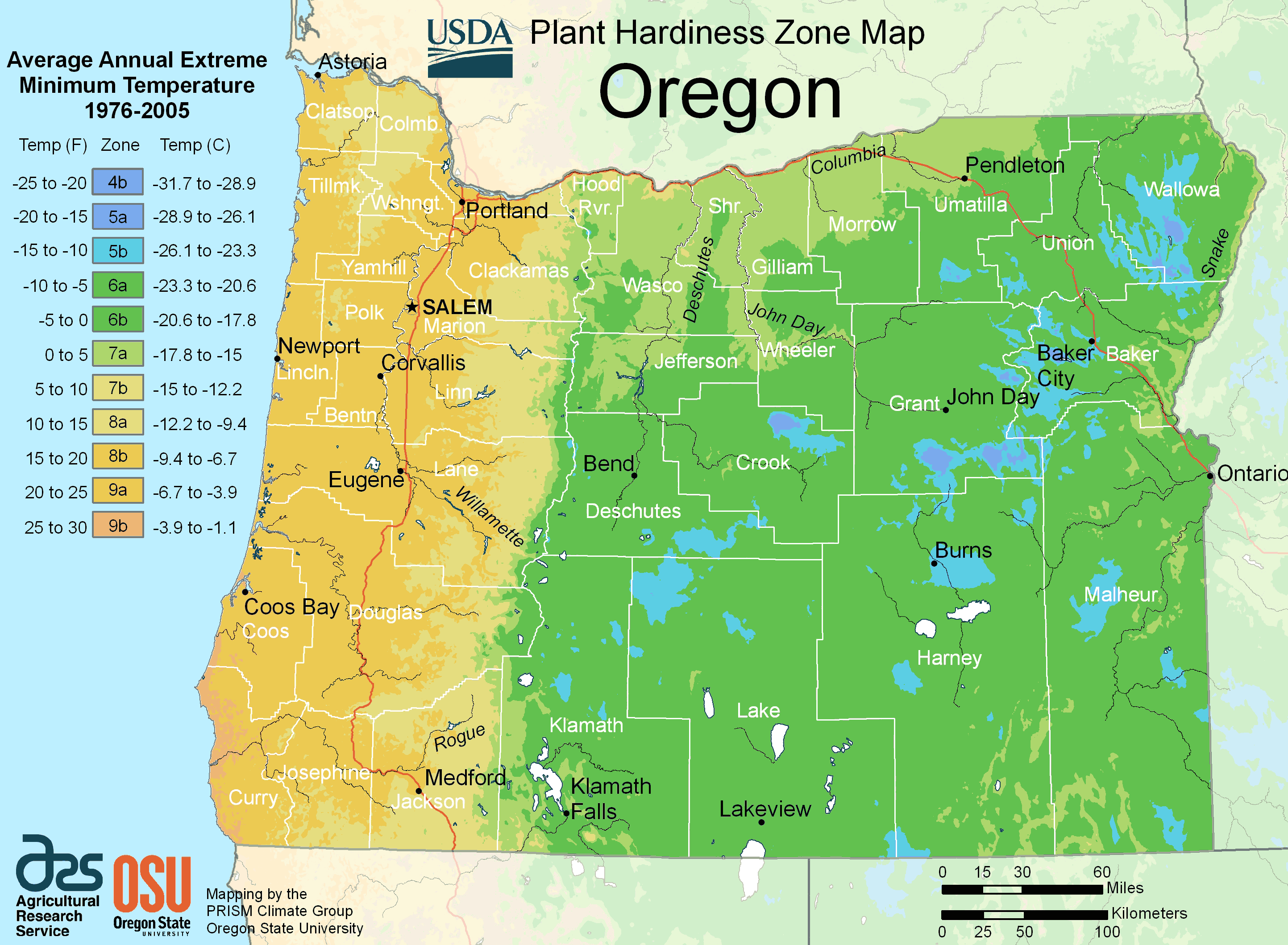 Oregon Map Image.Oregon Alabama Plant Hardiness Zone Map Mapsof Net