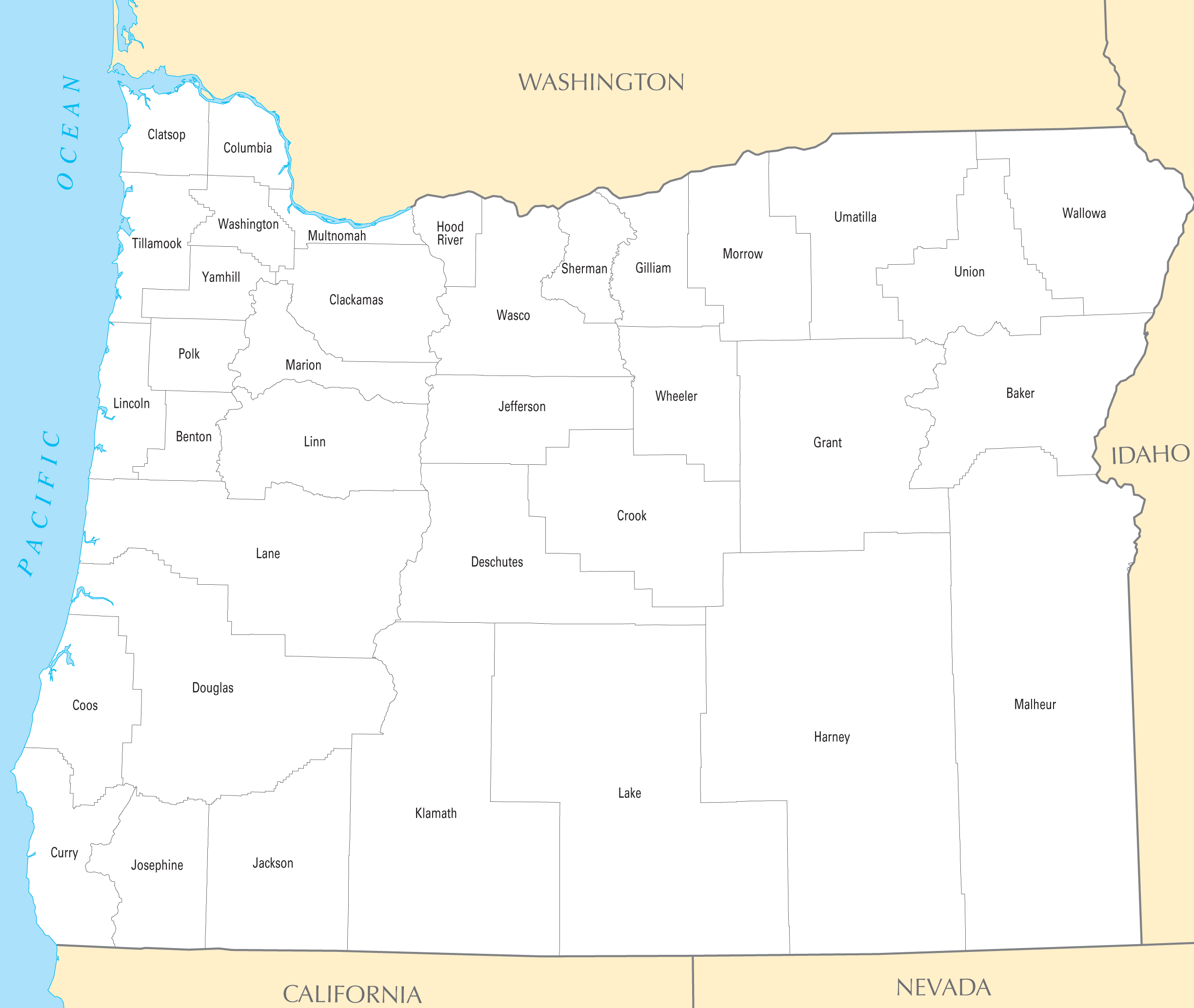 Oregon County Map Mapsofnet - Oregon county maps