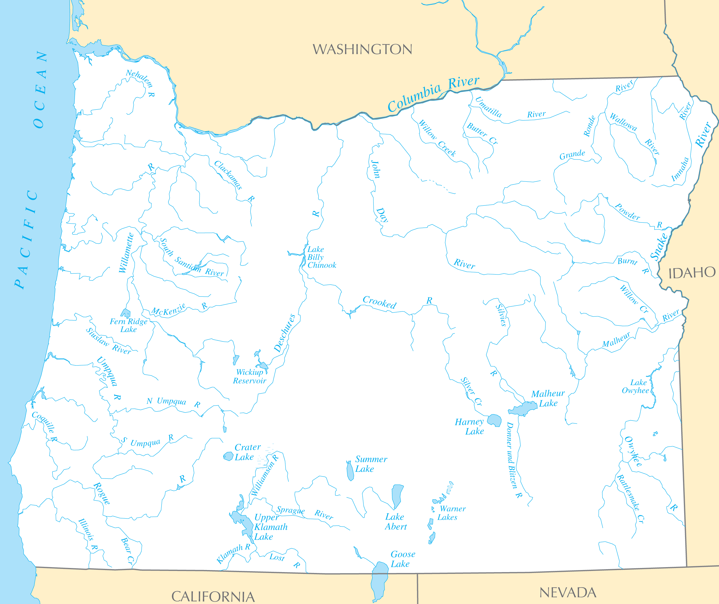 Oregon Rivers And Lakes large map