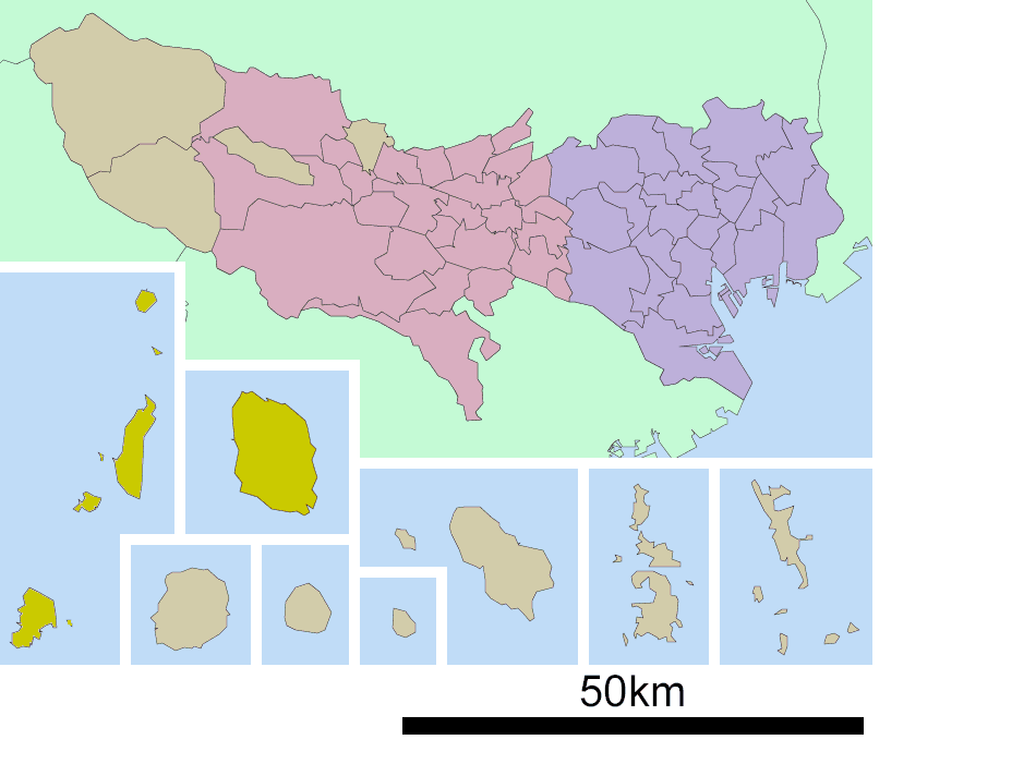 Oshima Subprefecture In Tokyo Prefecture large map