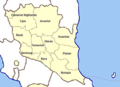 Outline Pahang With Labels large map