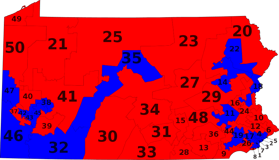 Pa State Senate Districts By Party large map