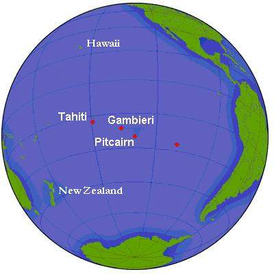 Pacific Ocean Pitcairn Island On Globe View English large map