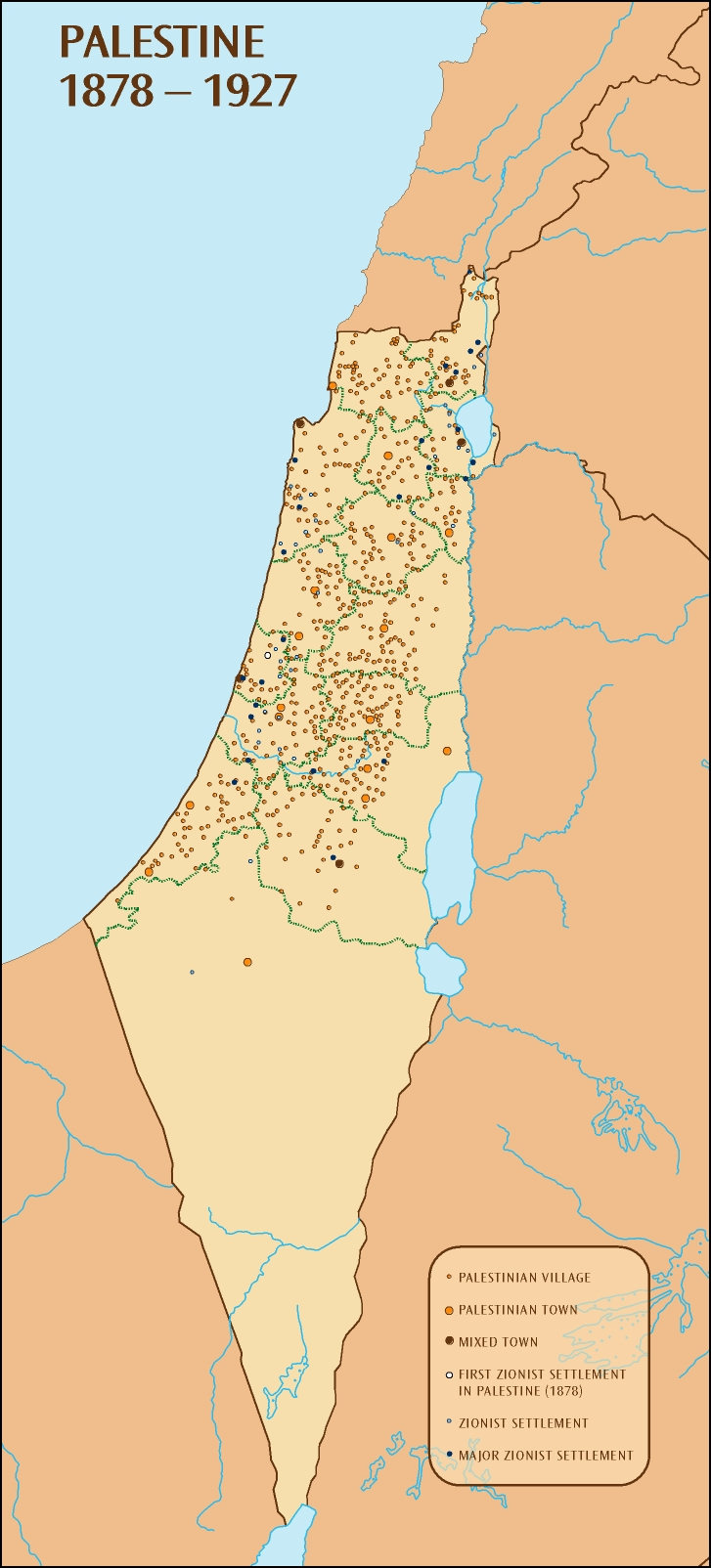 Palestine 1878 1927 Map large map