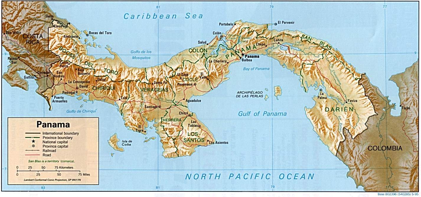 Panama Relief 1995 large map