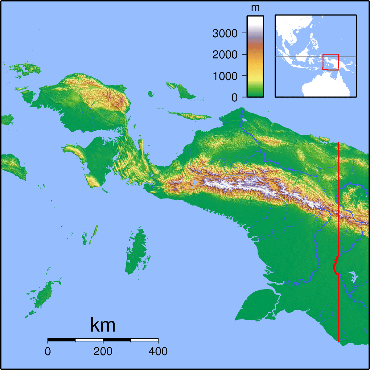 Papua Locator Topography large map