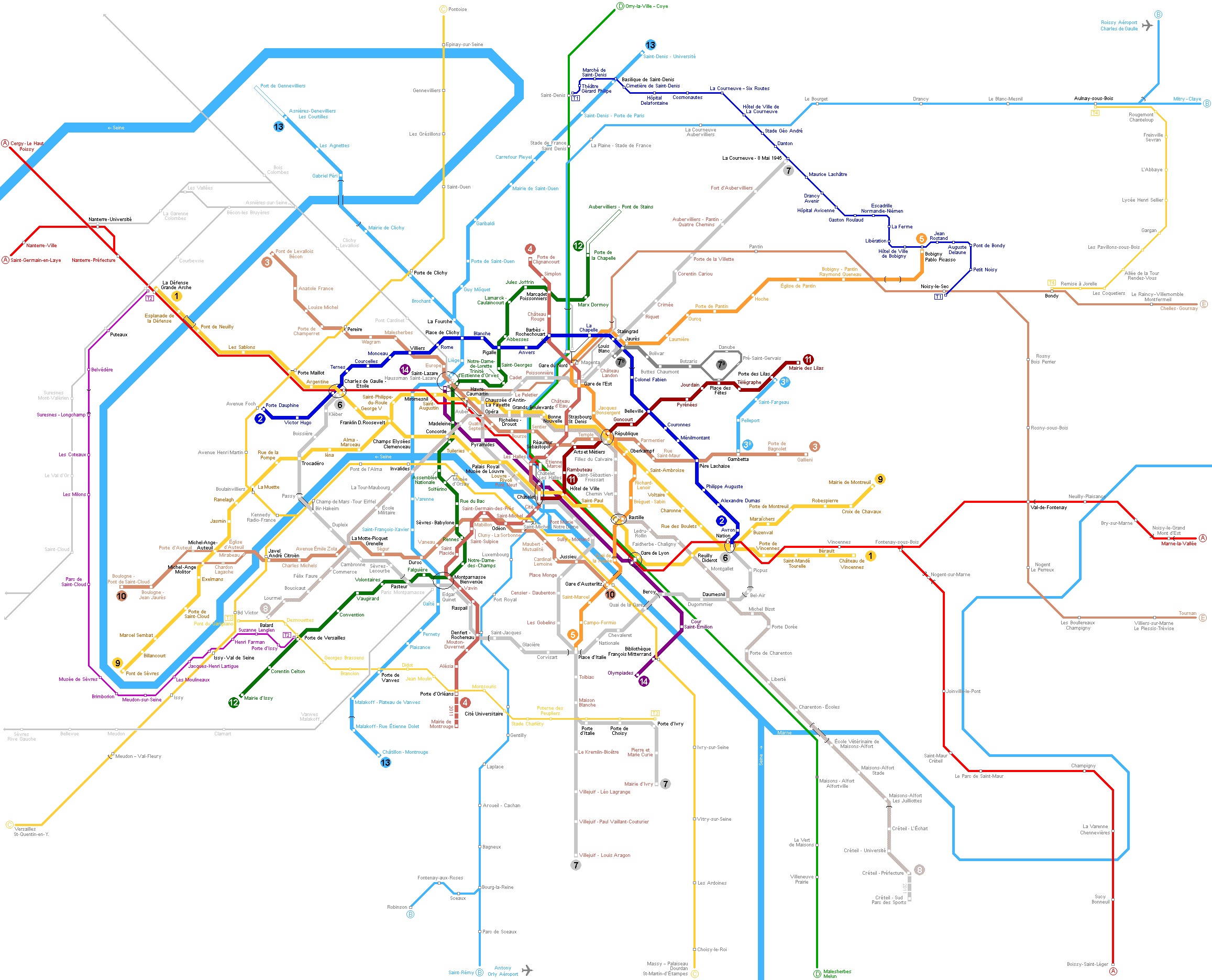 Paris Metro Full Map large map