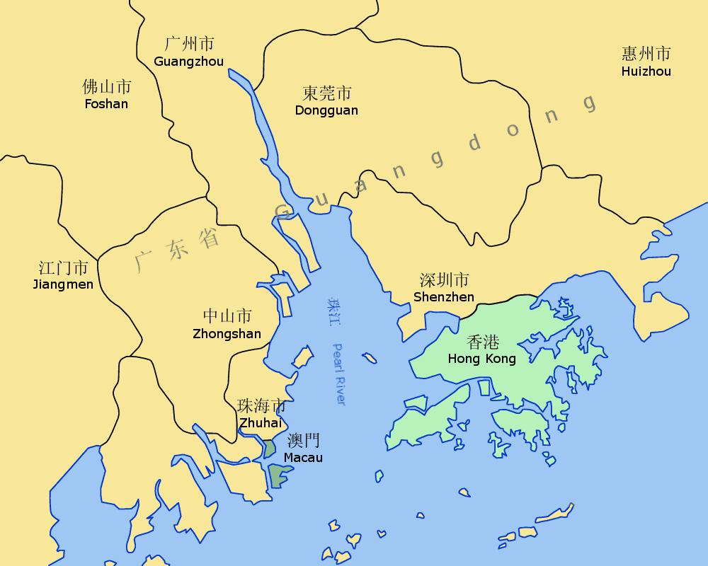 Pearl River Delta Area large map