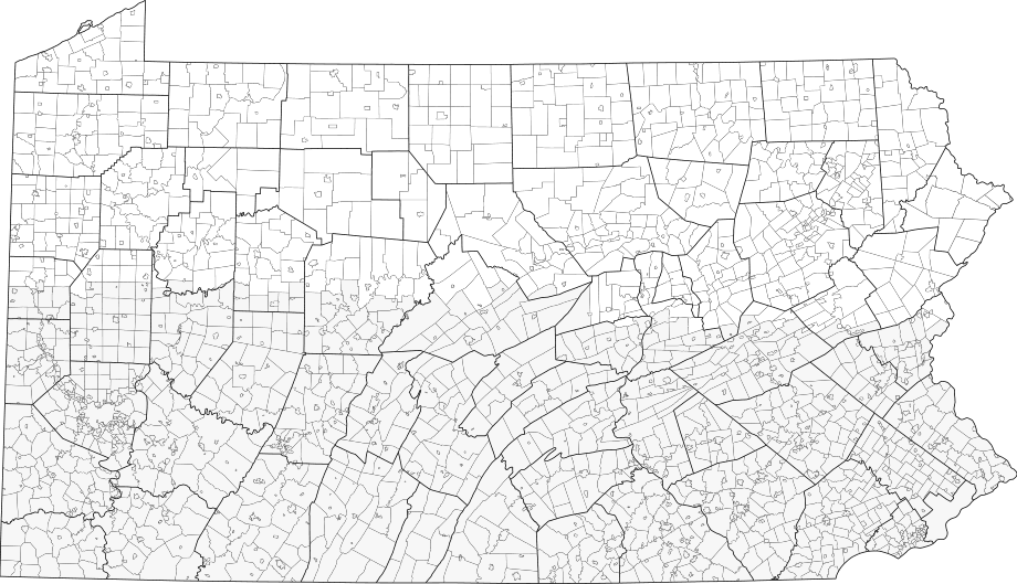 Pennsylvania Municipalities large map