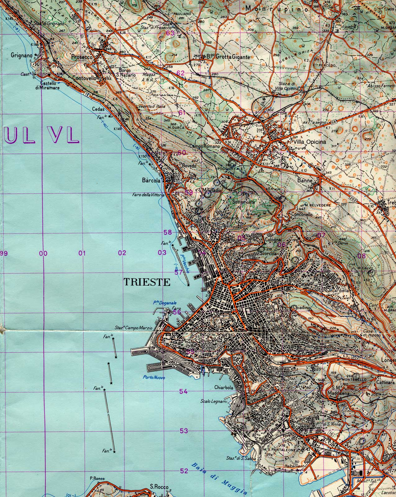 Phisical Map Trieste City large map