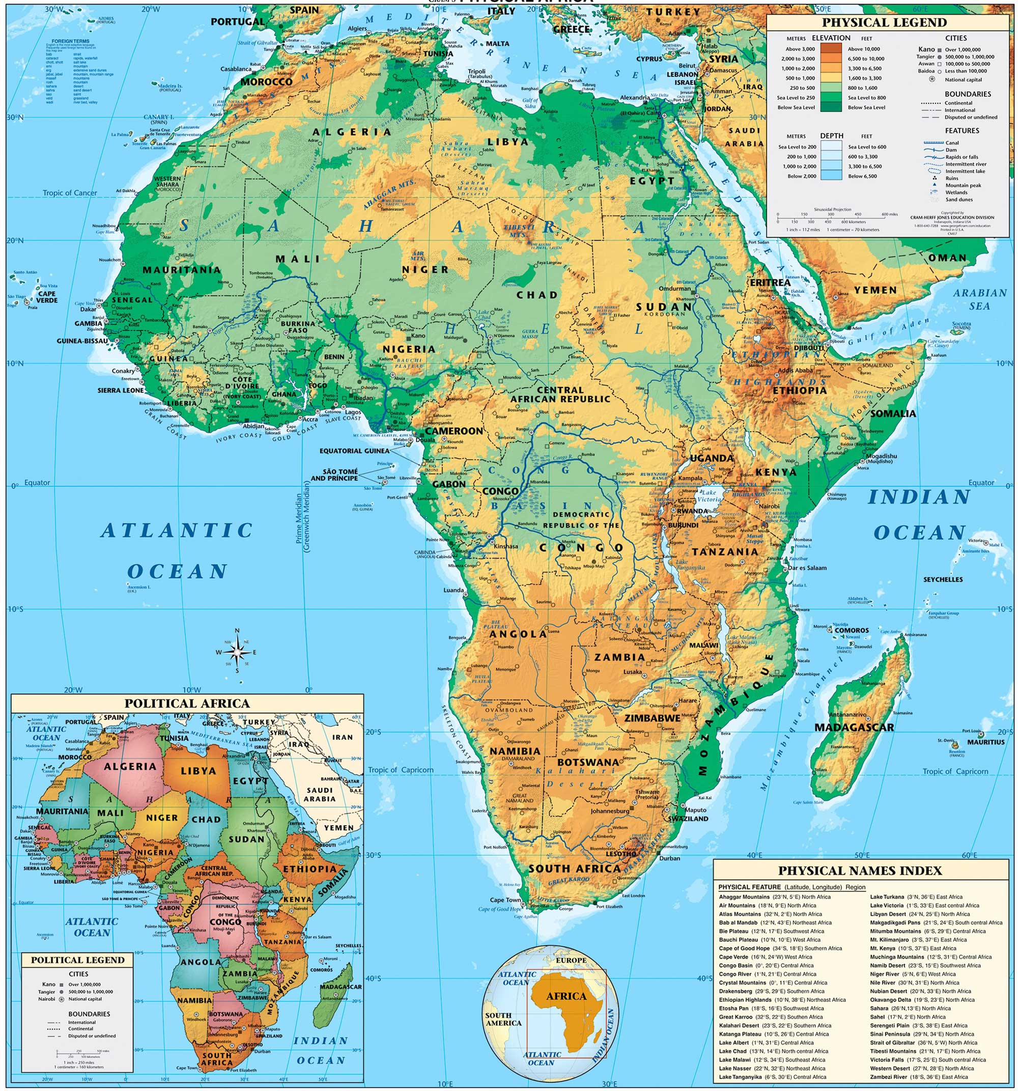 Physical Africa large map