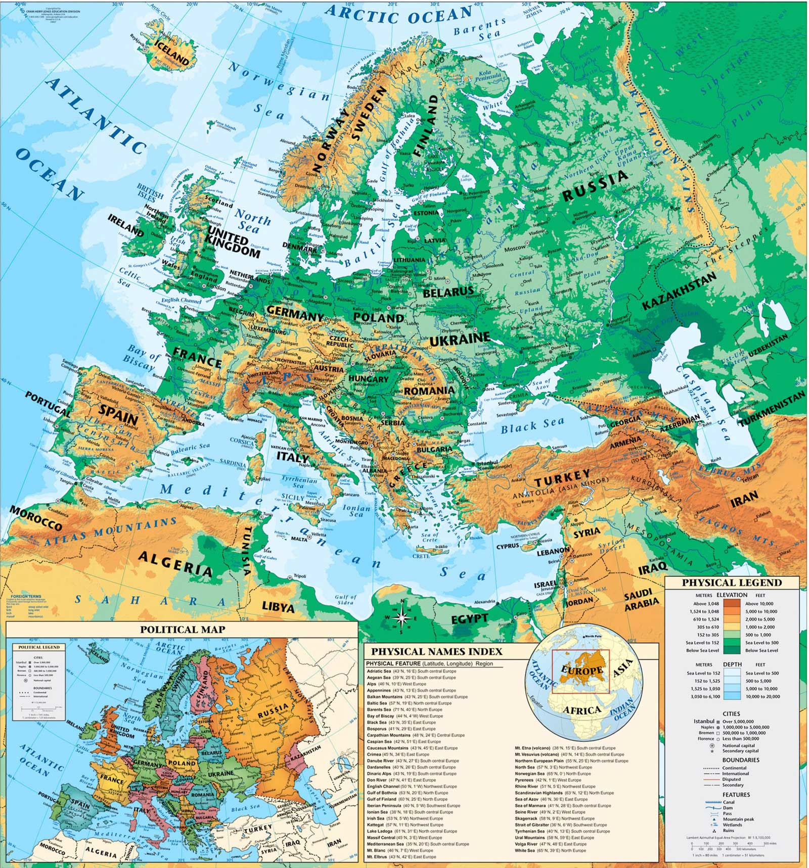 Physical Europe Map large map