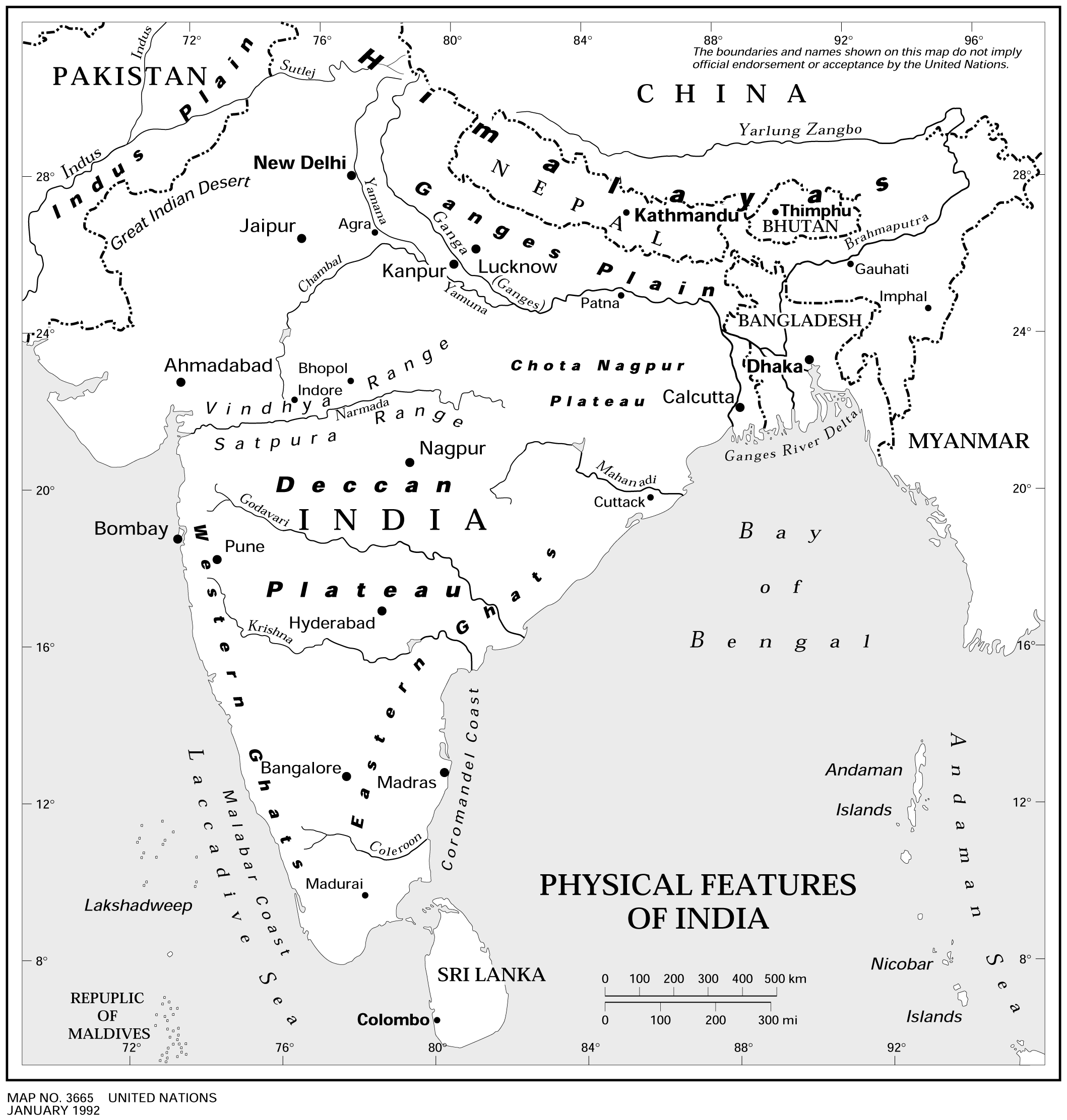 Physical Features of India large map
