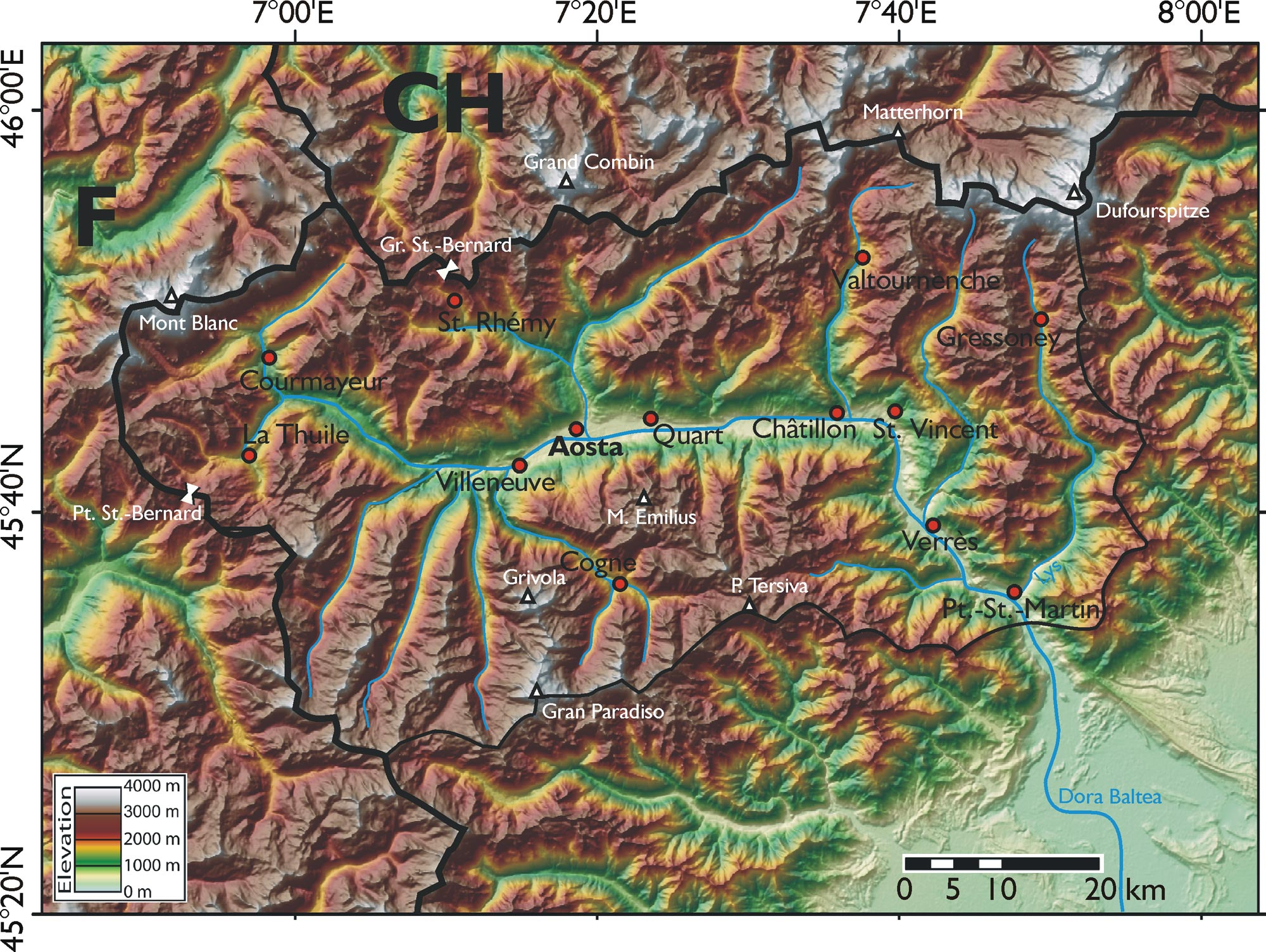 Physical Map Aosta Valley Mapsofnet