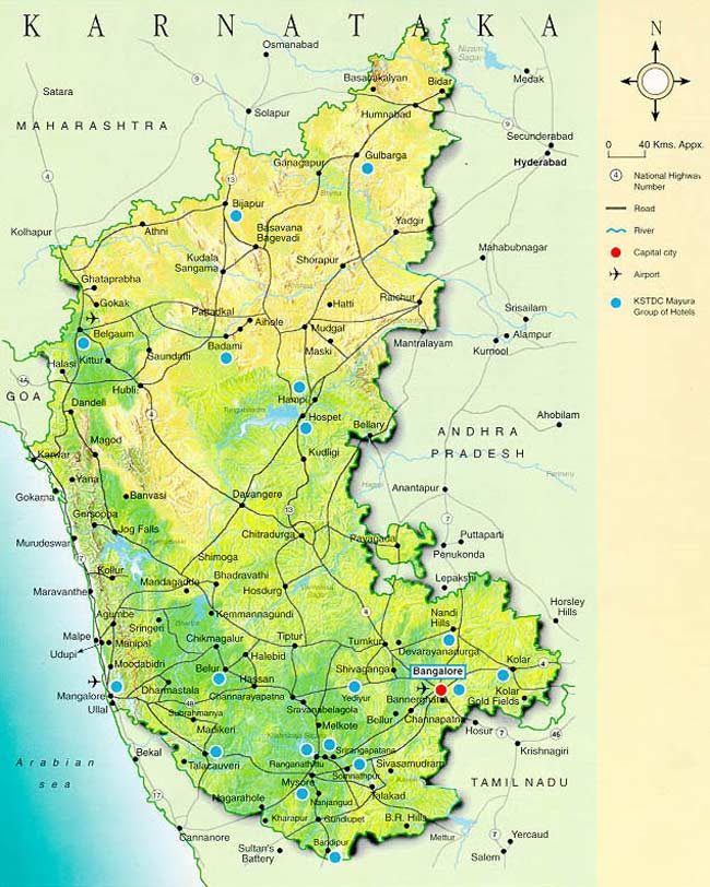 Physical Map Karnataka large map