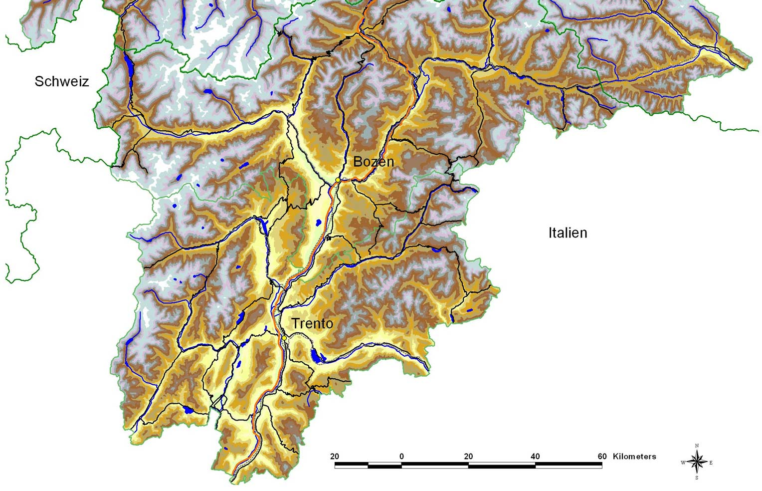 Physical Map Trento large map