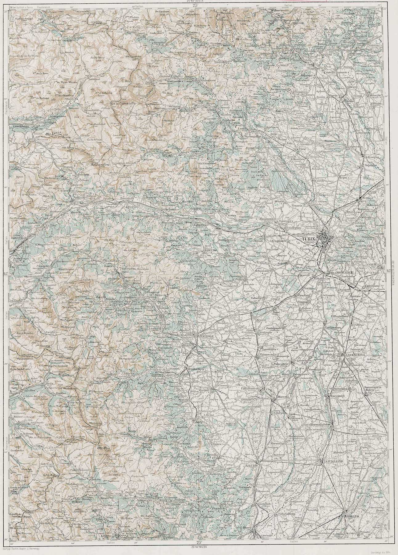 Physical Map Turin (torino) large map