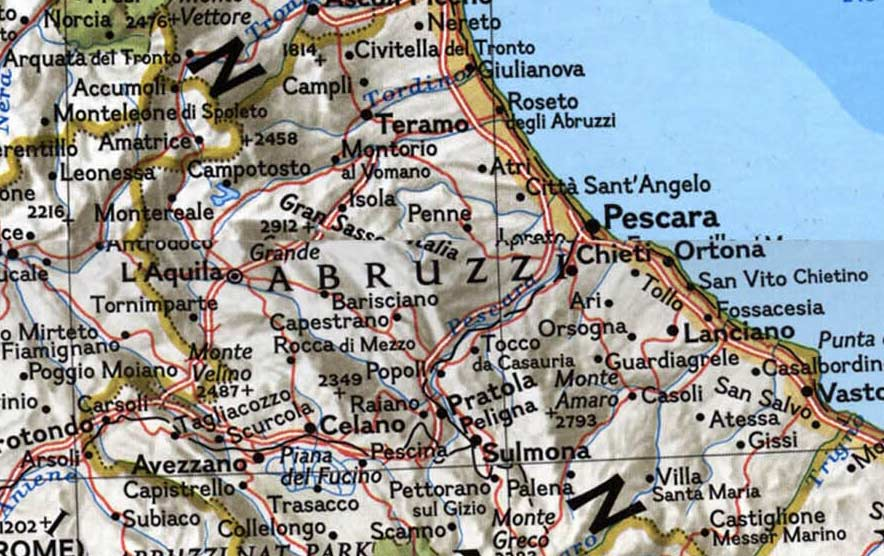 Physical Map of Abruzzo large map