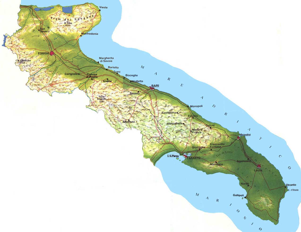 Physical Map of Apulia puglia Mapsofnet