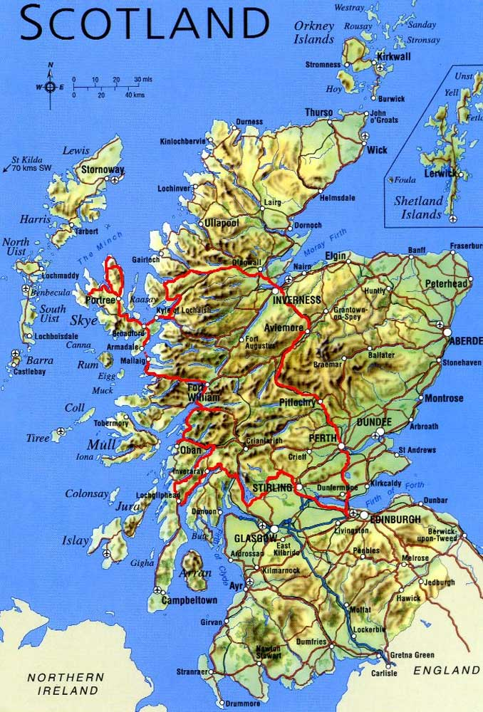 Physical Map of Scotland large map