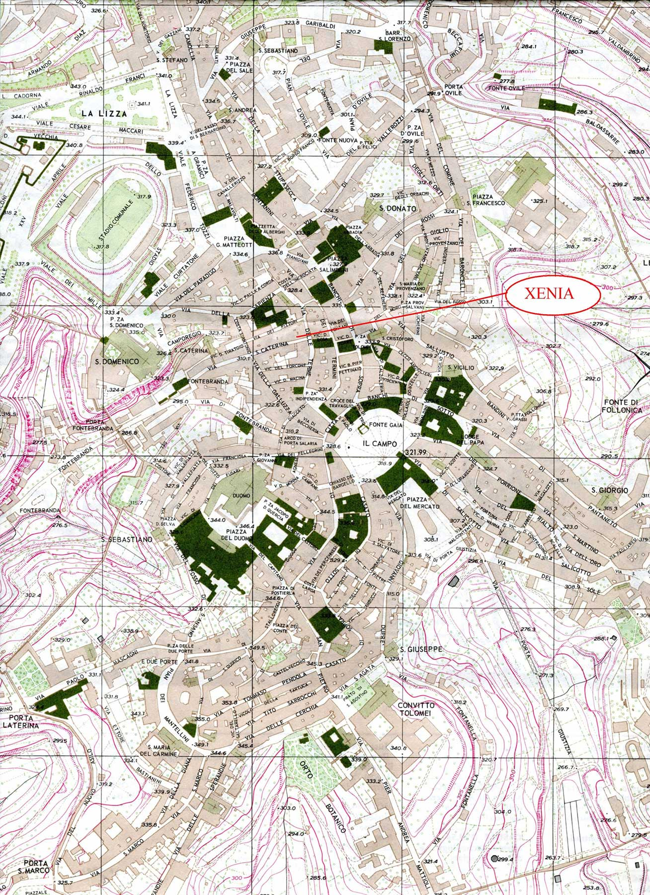 Physical Map of Siena large map