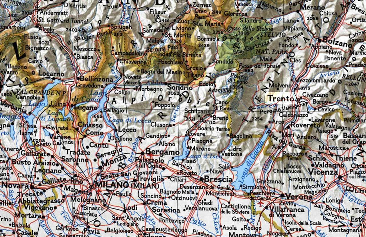 Physical Map of Trento large map