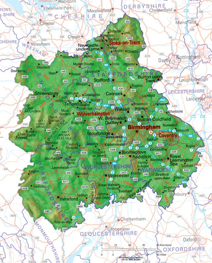 Physical Map of West Midlands  Mapsofnet
