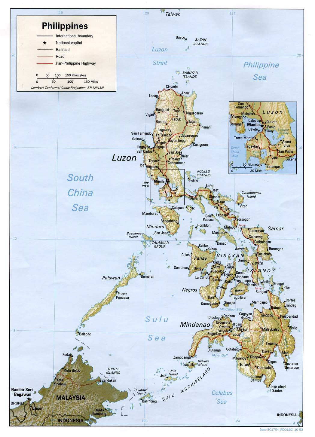 Physical Philippines Map large map