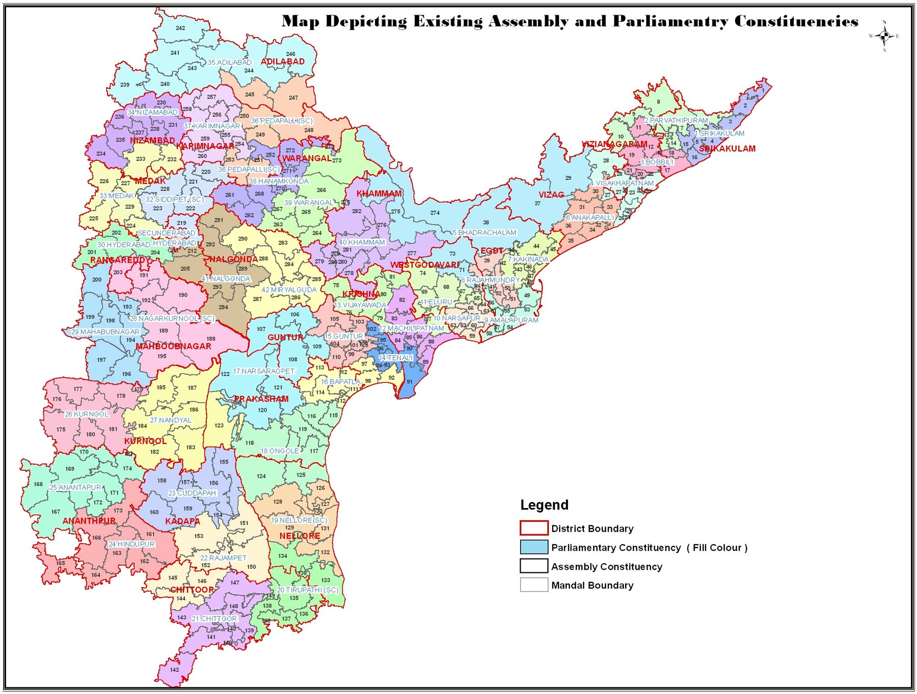Political Map Andhra Pradesh large map