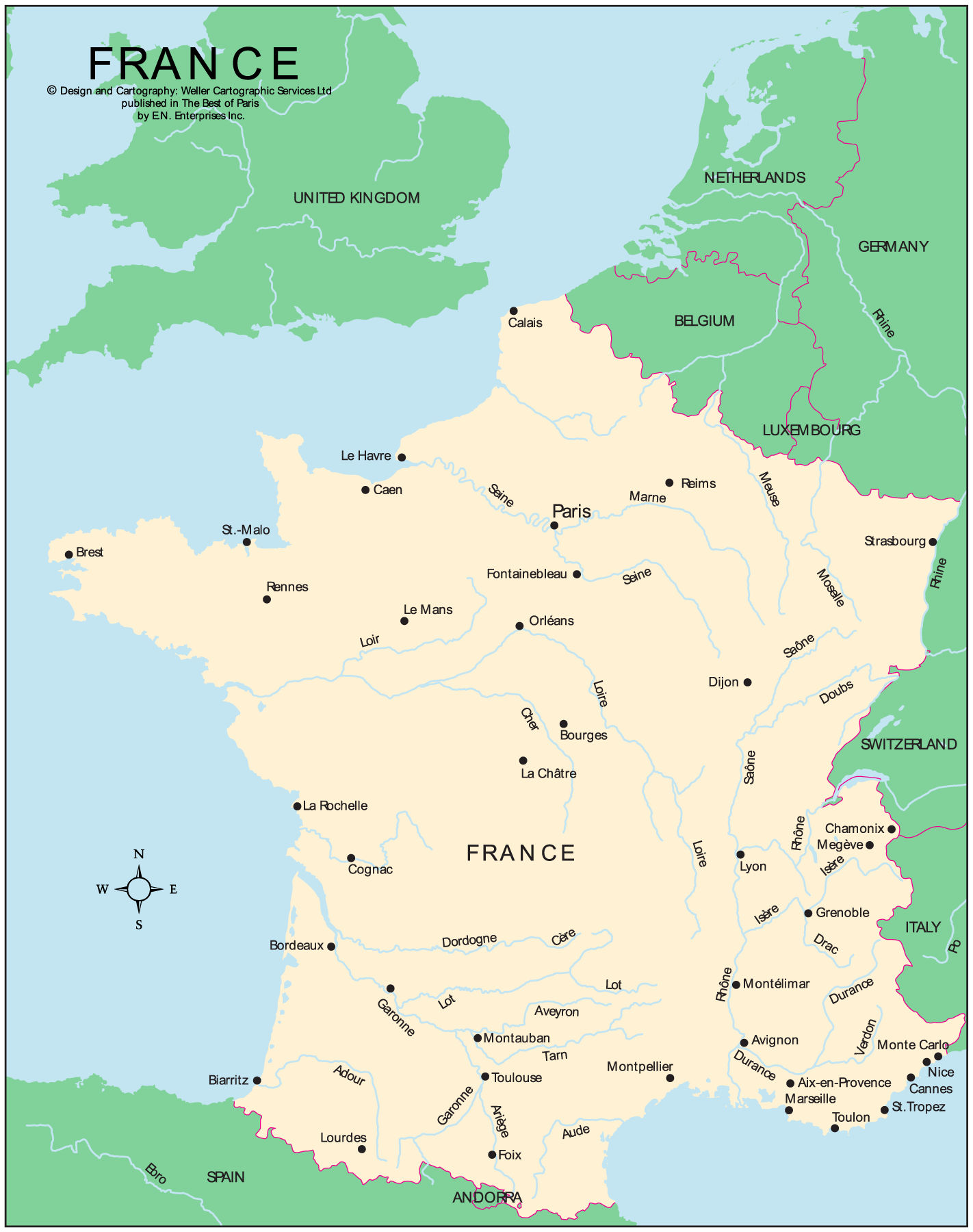 Political Map France large map