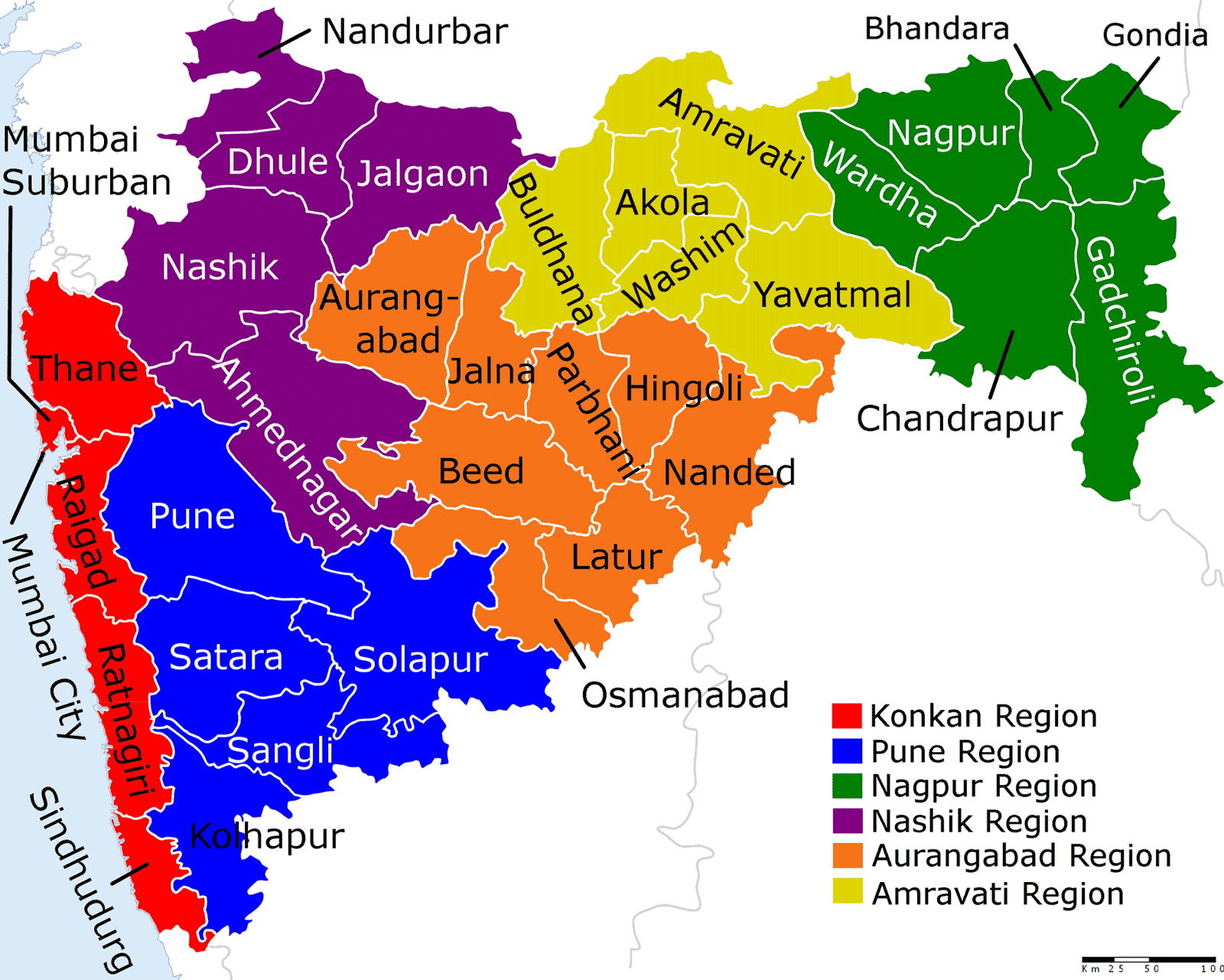 Political Map Maharashtra Mapsof Net