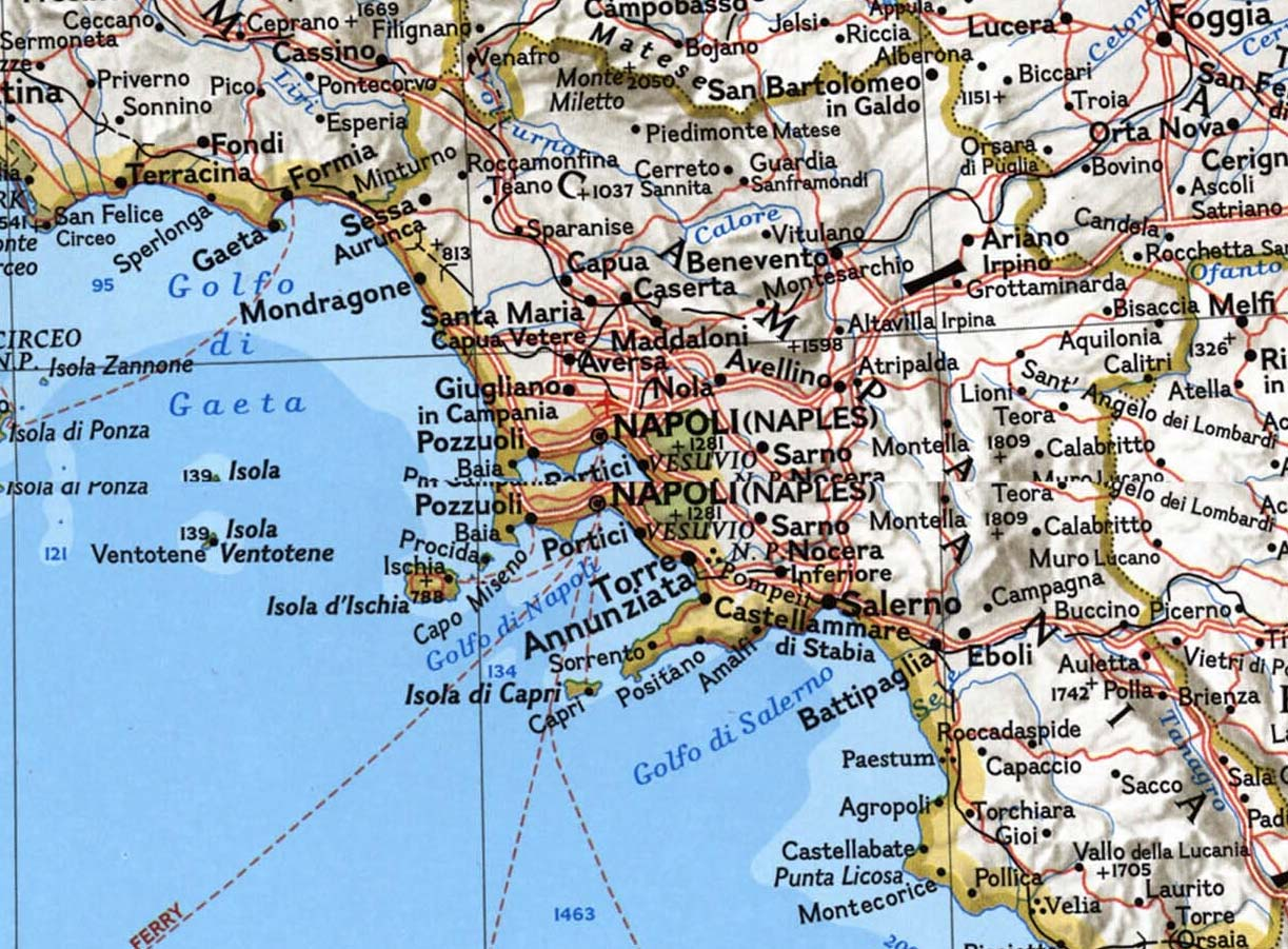Political Map Naples (napoli) large map