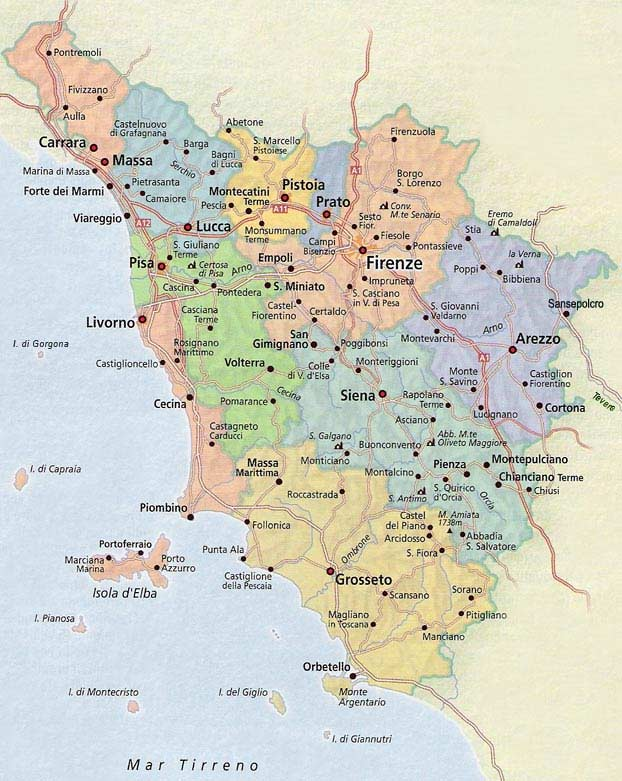Political Map Tuscany large map