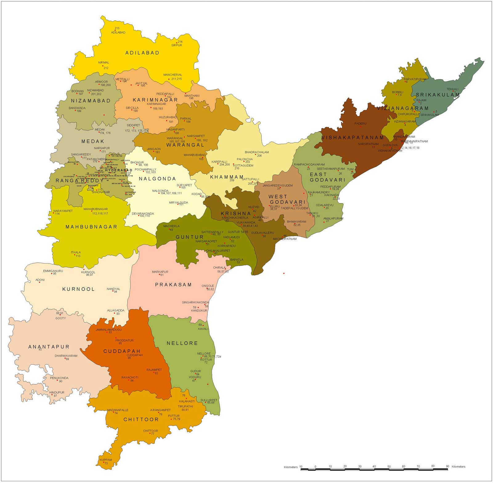 Political Map of Andhra Pradesh large map