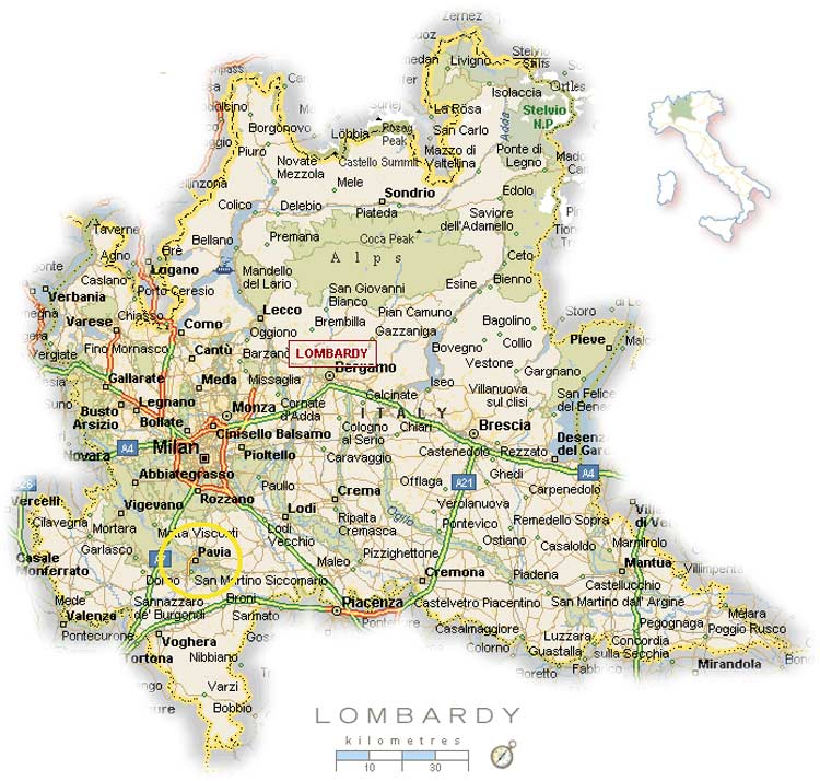 Political Map of Lombardy large map