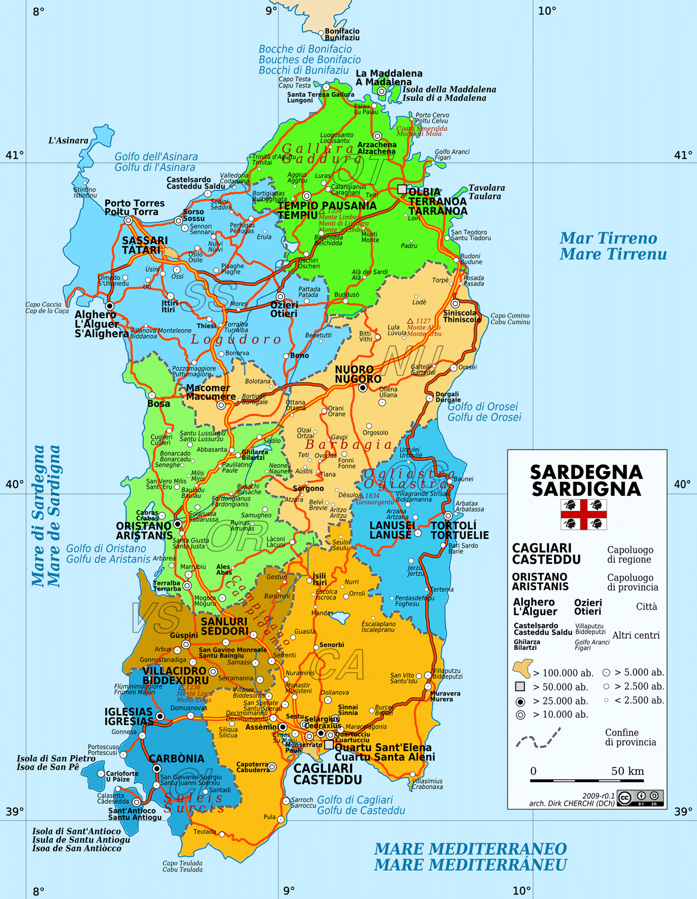 Political Map of Sardinia large map