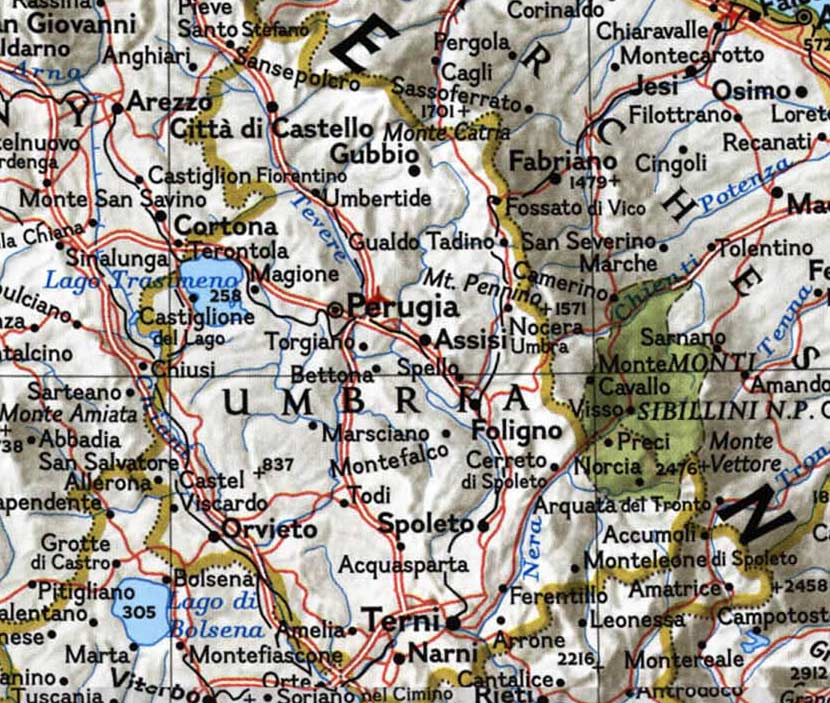 Political Map of Umbria large map