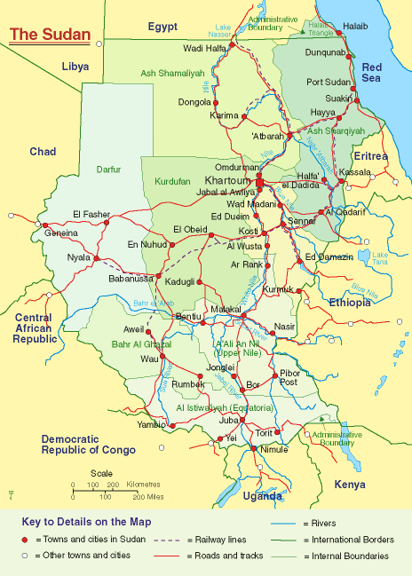 Political Map of Sudan large map