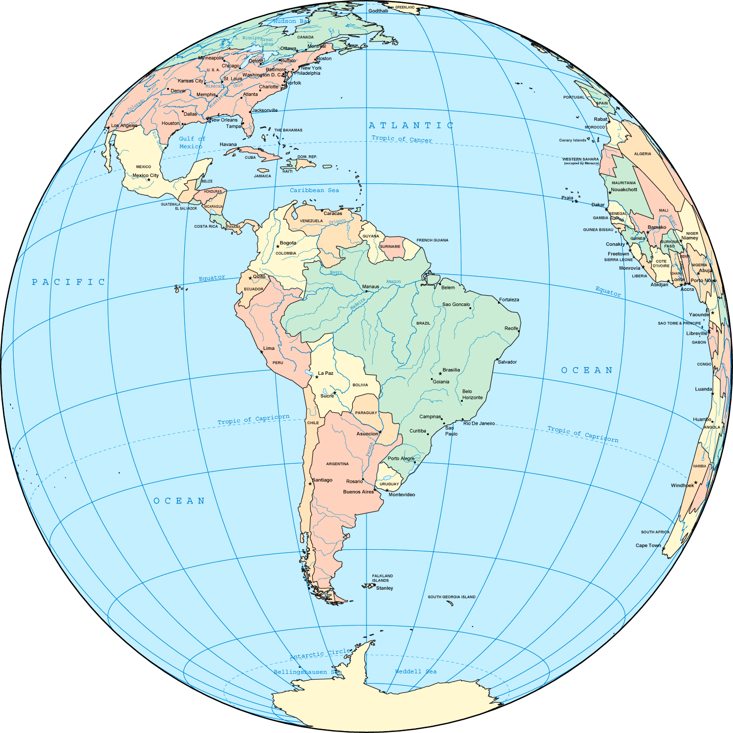 Political South America Globe large map