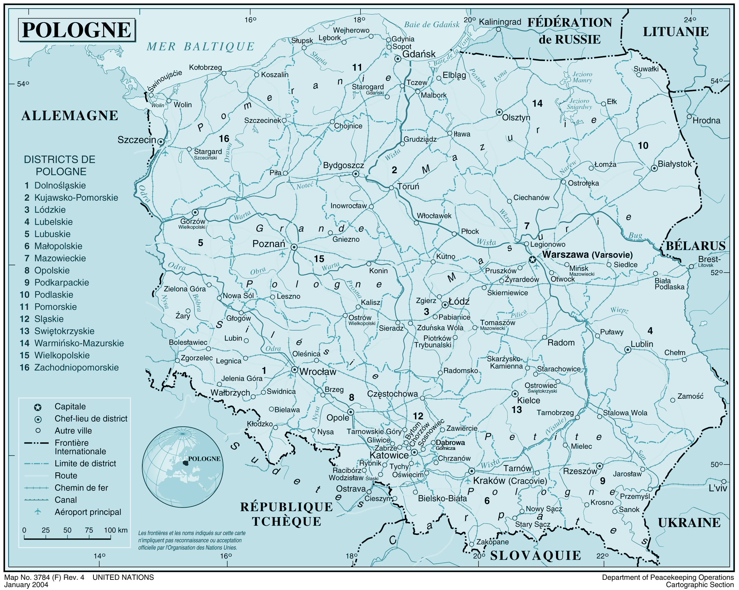 Pologne large map