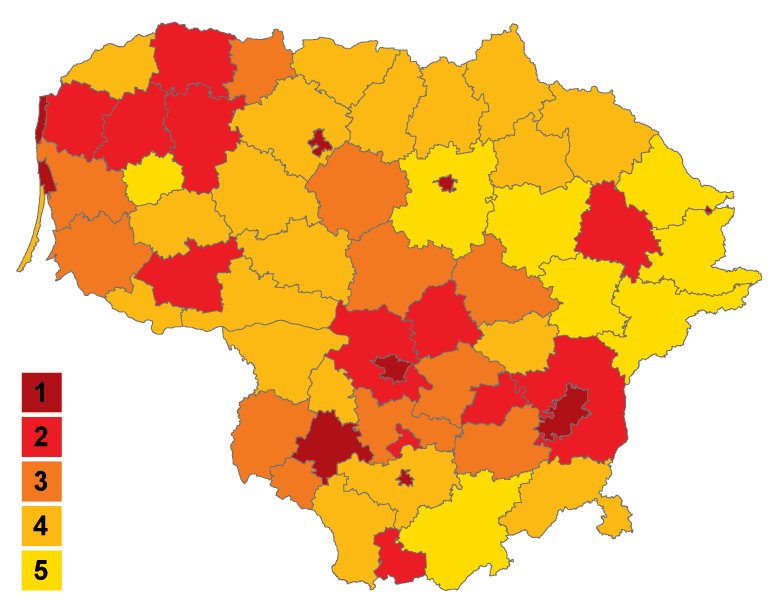 Population Density In Municipalities of Lithuania (blank) large map