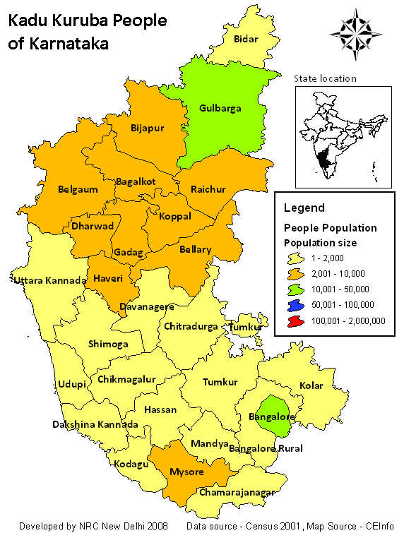 Population Map of Karnataka large map