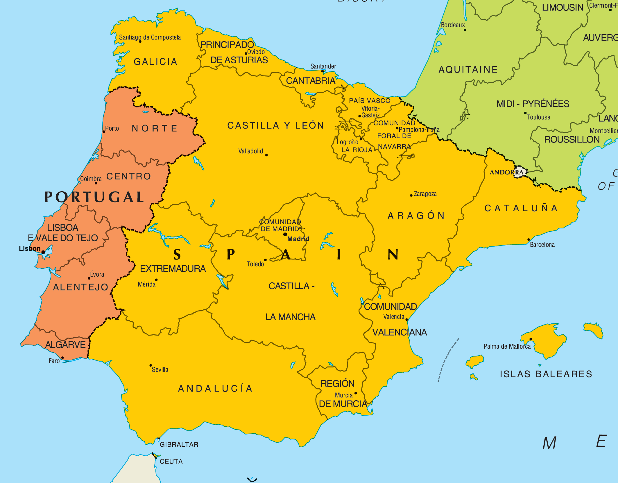 Map Of Spain And Portugal And France.Portugal Map Search Results Mapsof Net