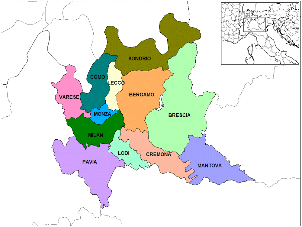 Province Map Lombardy large map
