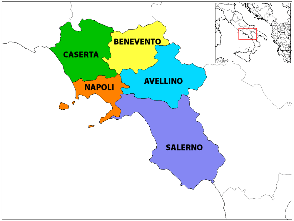 Province Map of Campania Mapsofnet