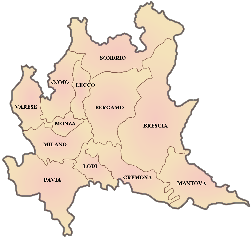 Province Map of Lombardy large map